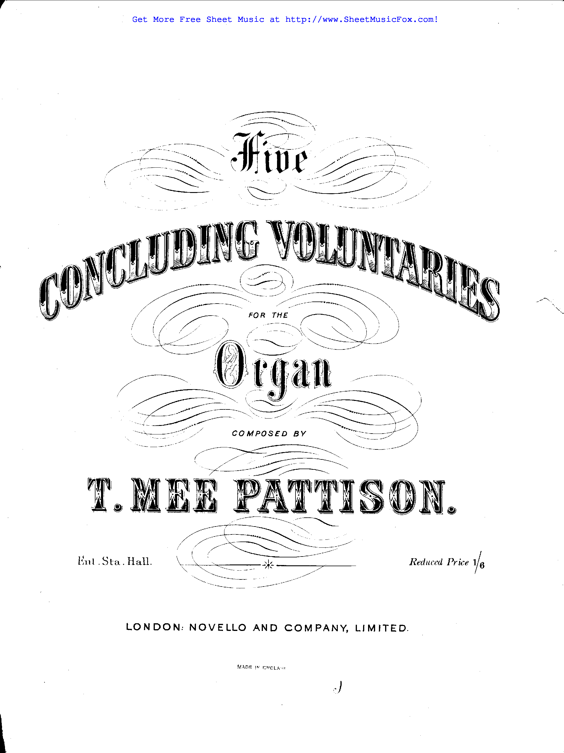 Free sheet music for 5 Concluding Voluntaries (Pattison