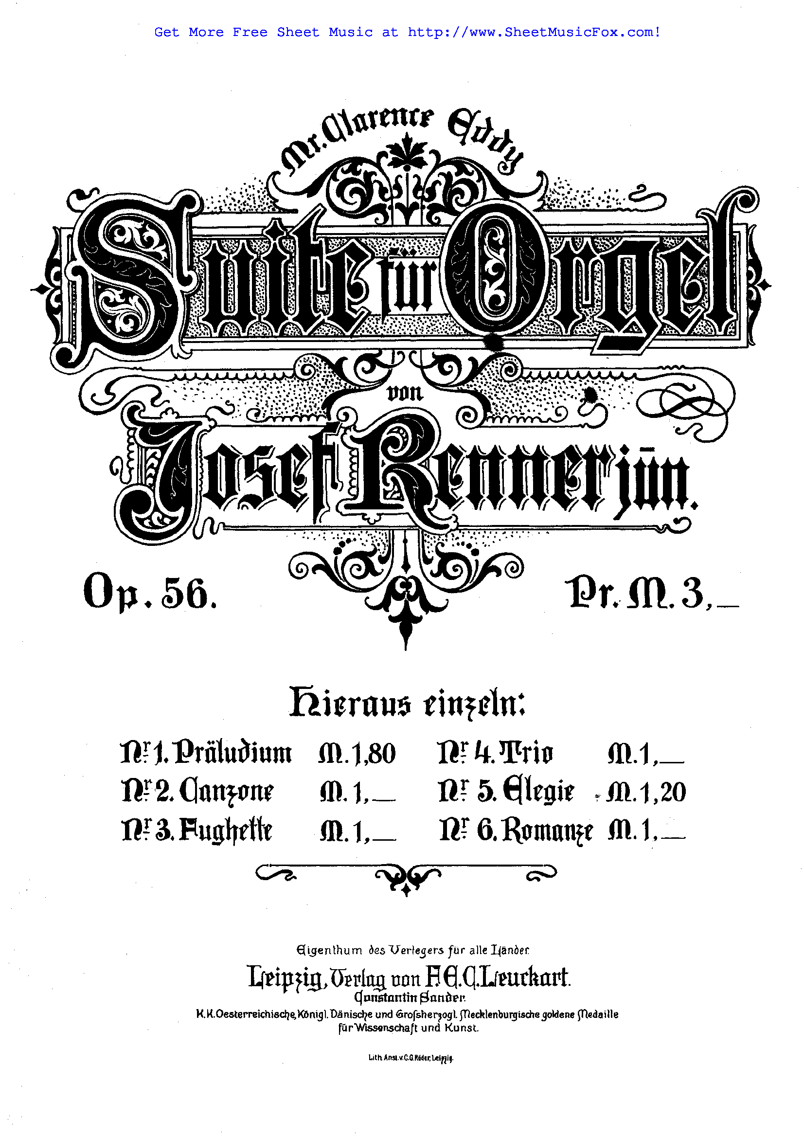Free sheet music for Suite for Organ, Op.56 (Renner