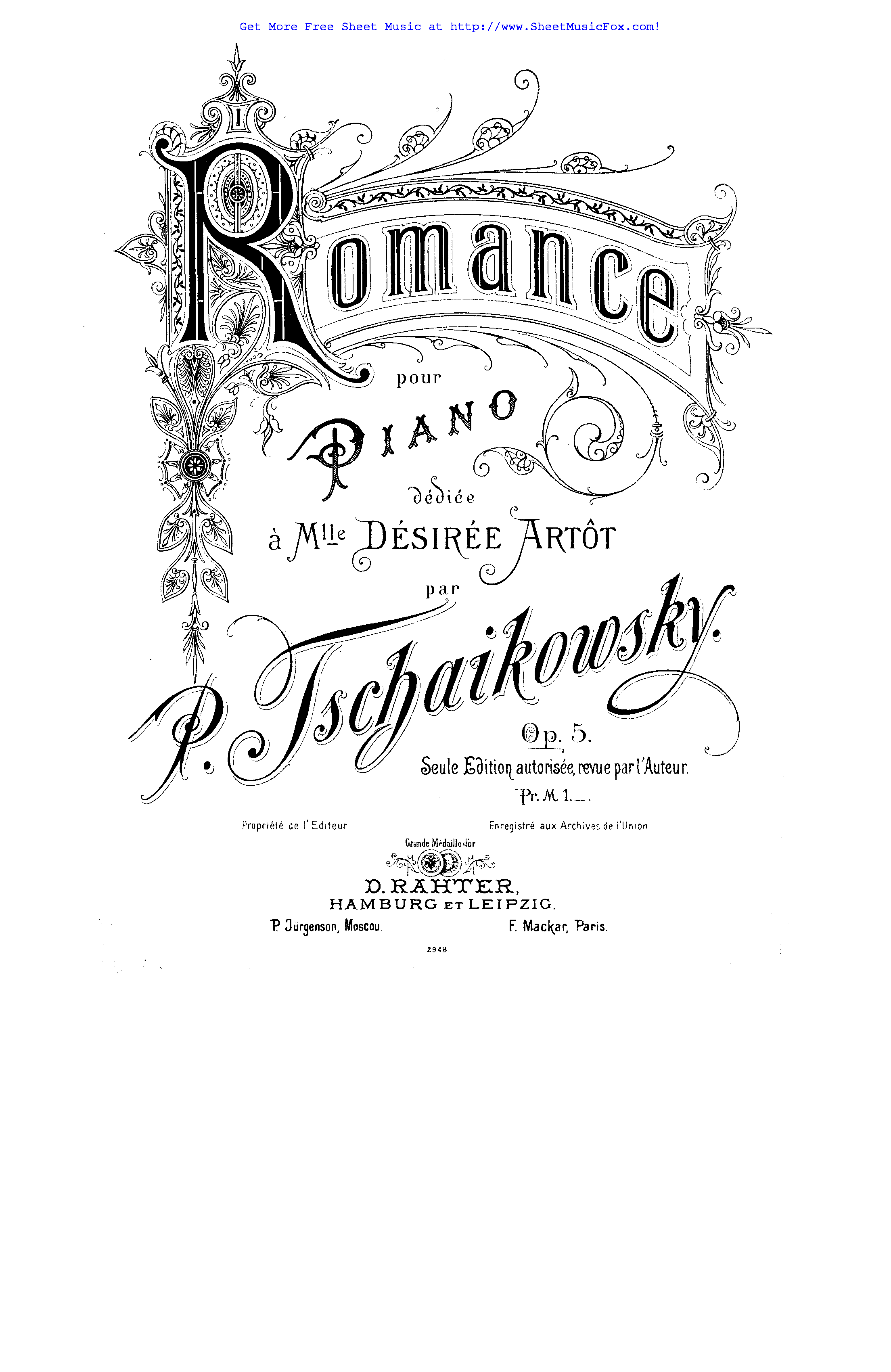 Free sheet music for Romance, Op.5 (Tchaikovsky, Pyotr) by