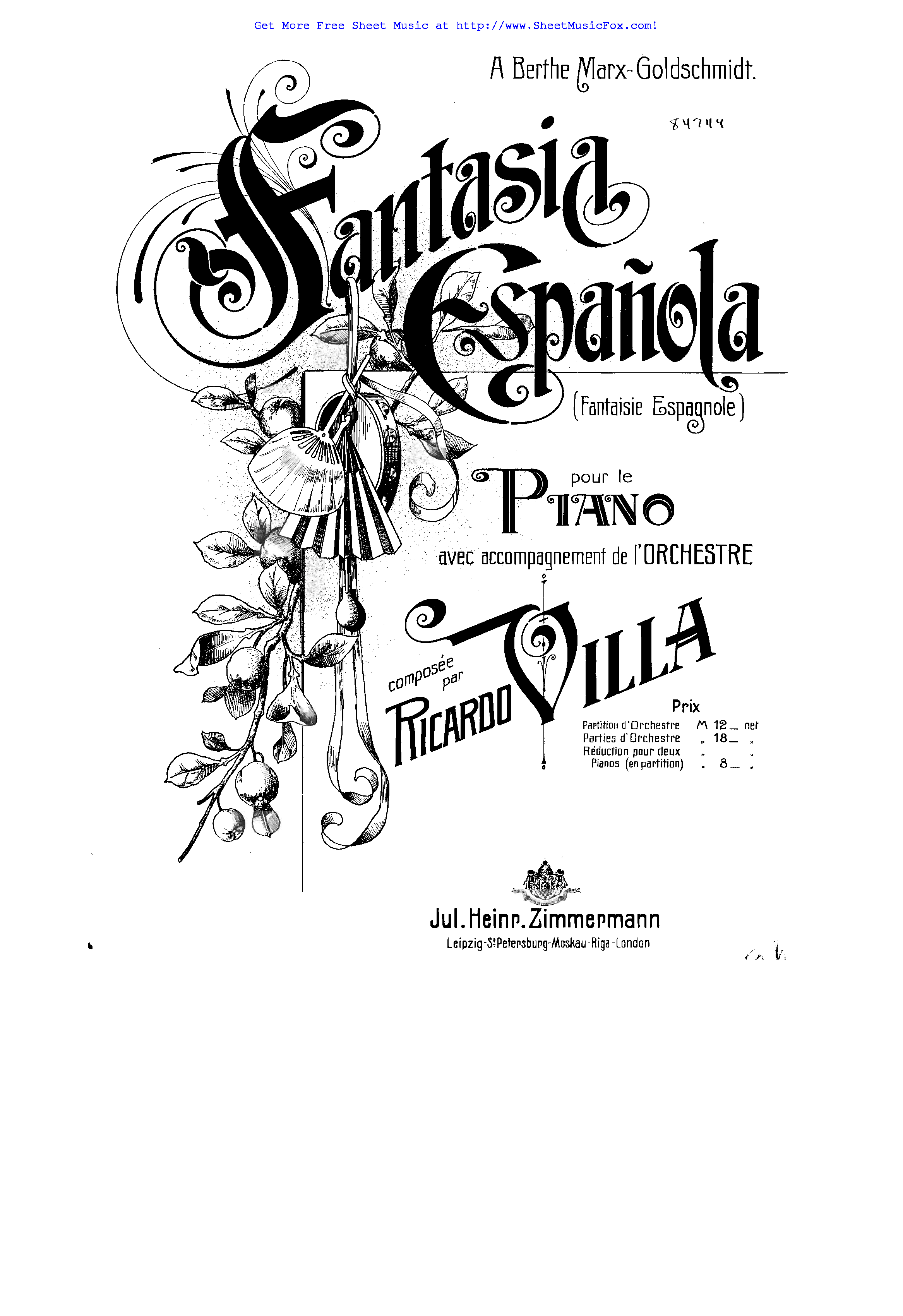 Free sheet music for Fantasia española (Villa, Ricardo) by
