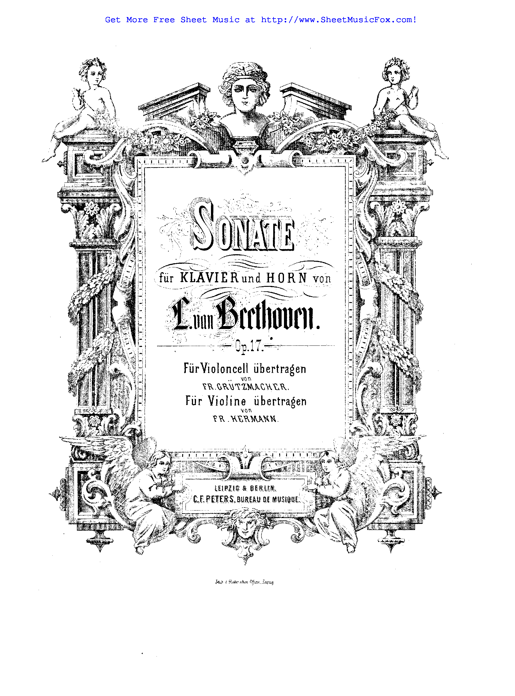 Free sheet music for Horn Sonata, Op.17 (Beethoven, Ludwig