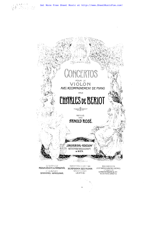 Free sheet music for Violin Concerto No.1, Op.16 (Bériot
