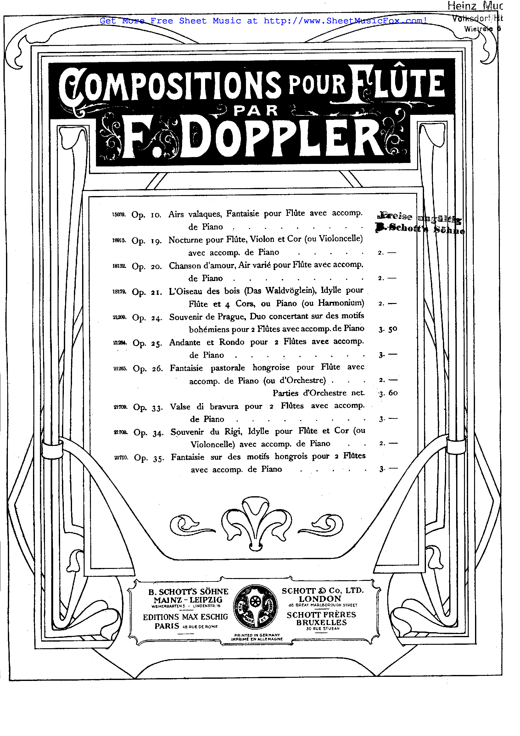 Free sheet music for Airs Valaques, Op.10 (Doppler, Franz