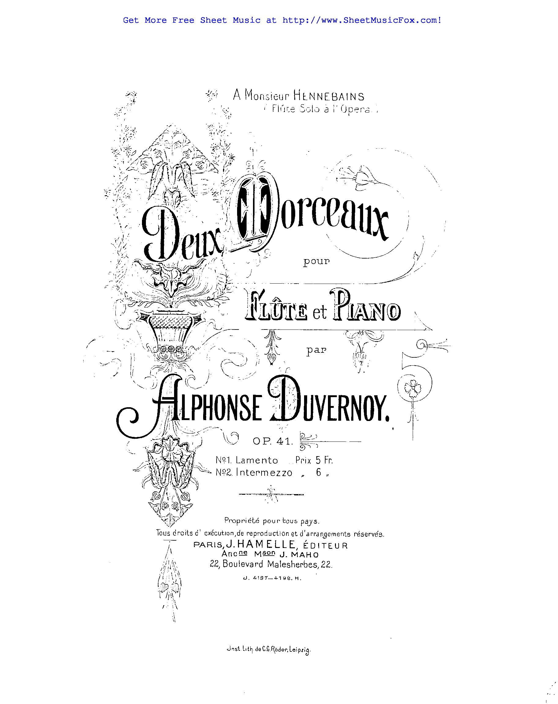 Free sheet music for 2 Morceaux for Flute and Piano, Op.41