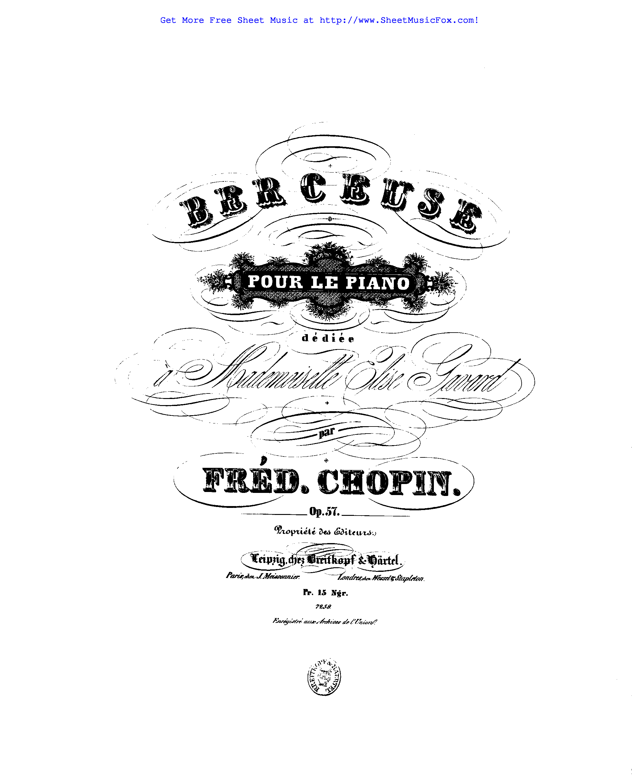 Free sheet music for Berceuse, Op.57 (Chopin, Frédéric) by