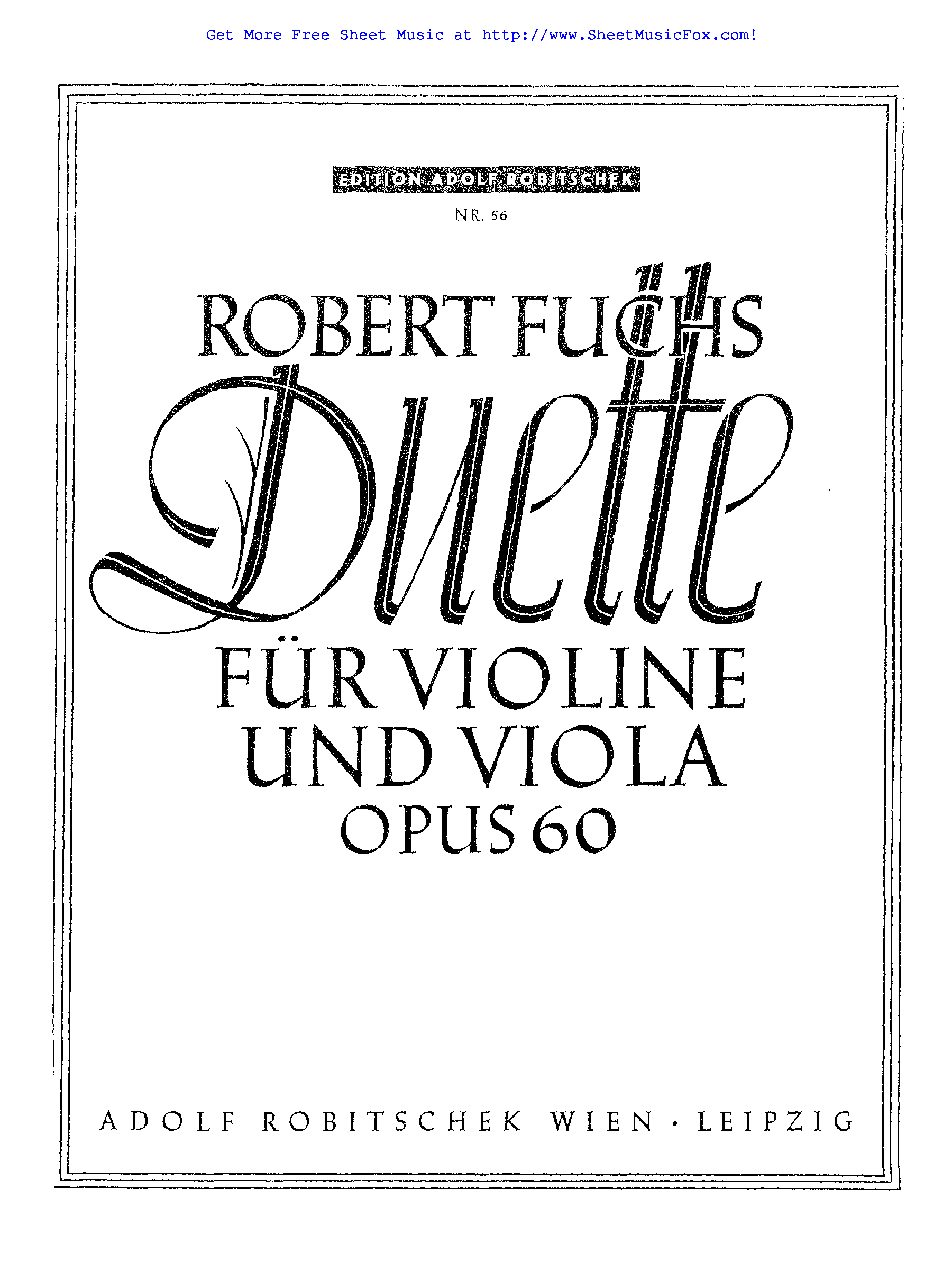 Free sheet music for 12 Duets for Violin and Viola, Op.60
