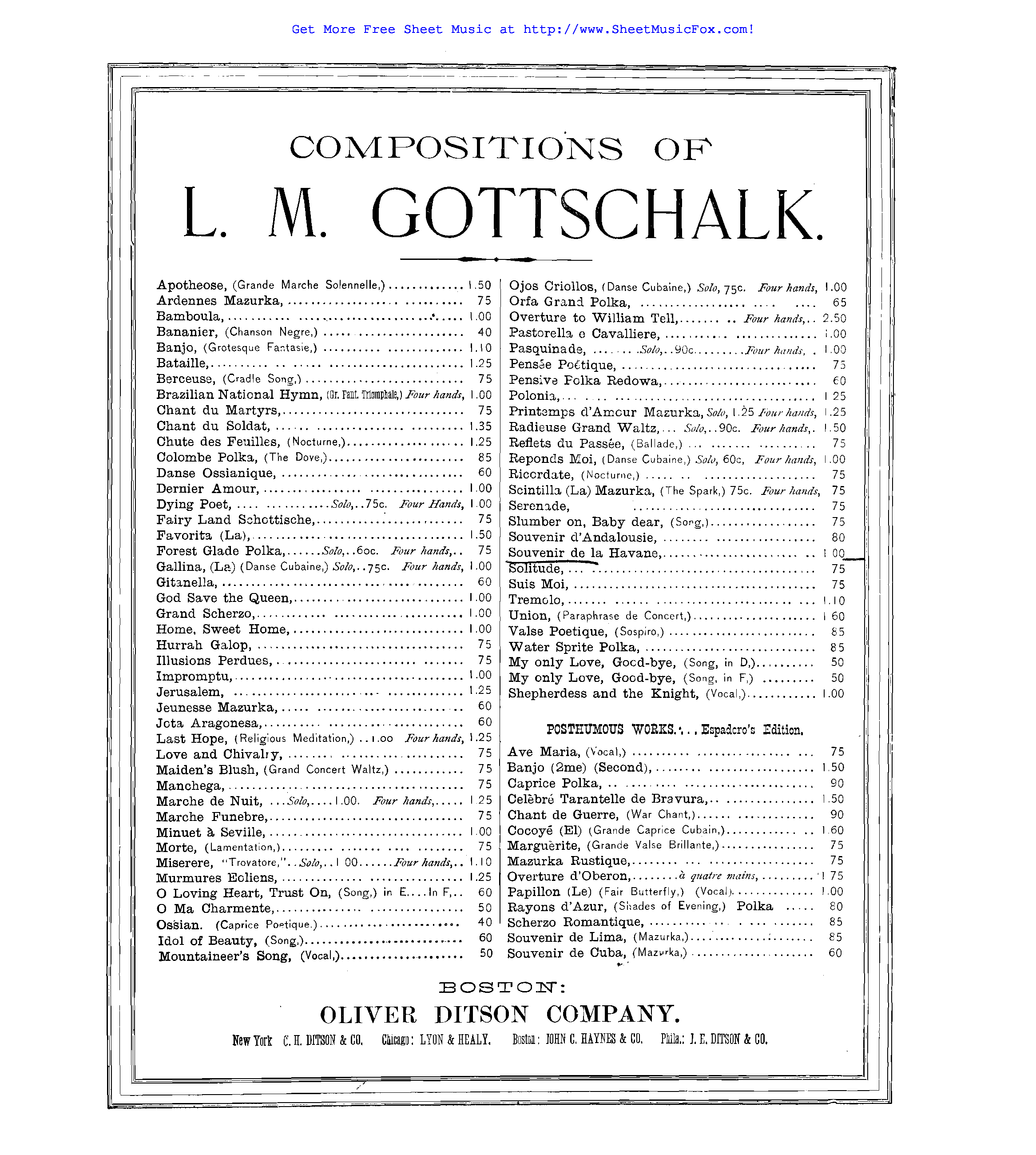 Free sheet music for Souvenir de la Havane, Op.39