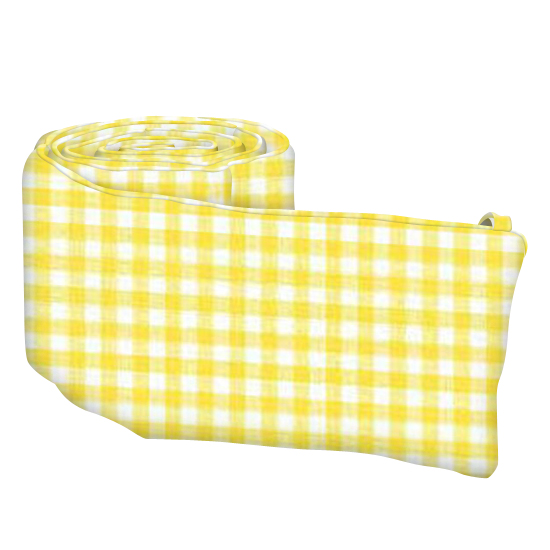 Primary Yellow Gingham Woven  Portable Crib Bumpers