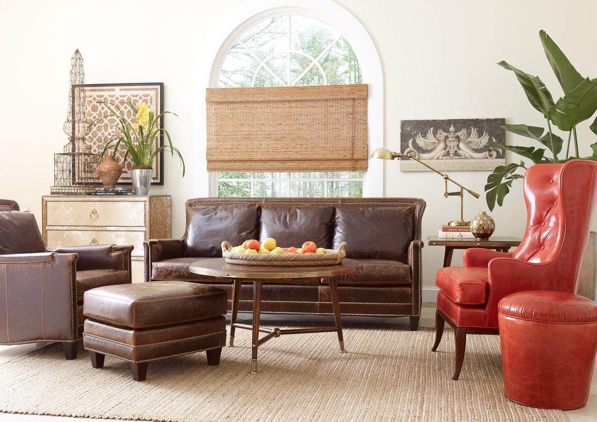 room leather furniture