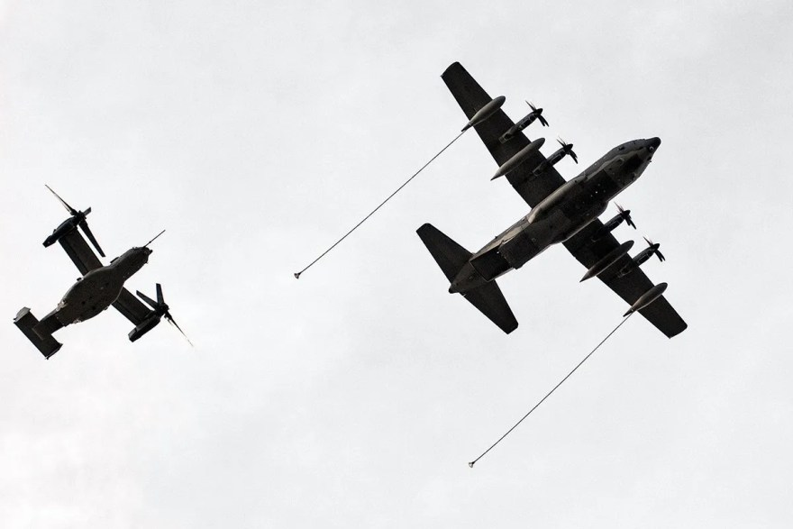 Commando II and Osprey aircraft over the Mi Amigo Memorial