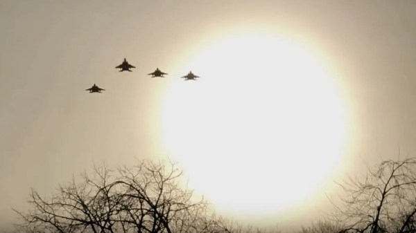F-15E Strike Eagles in 'Missing Man Formation' at the Mi Amigo Flypast