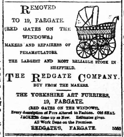 Advert for Redgates, Fargate, 1893