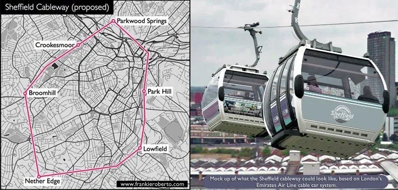 Frankie Roberto's proposed cable car route for the Sheffield Cableway