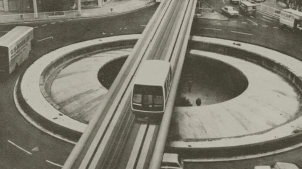 The Sheffield Monorail going over the Hole in the Road