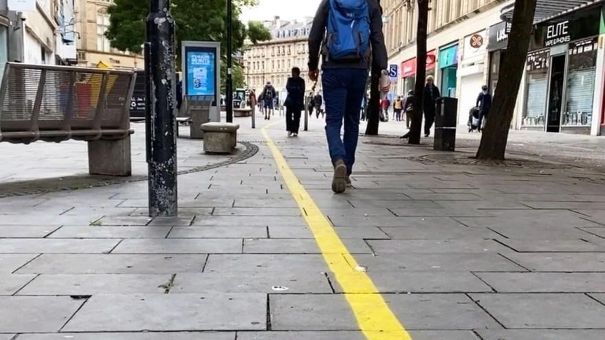Painted lines marking walking thoroughfares on Fargate