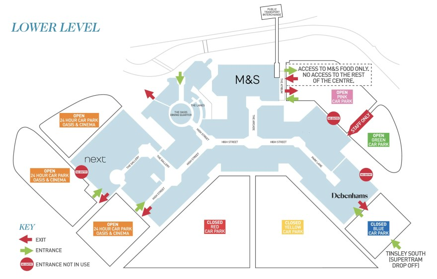 Meadowhall Lower Level Map including Social Distancing changes