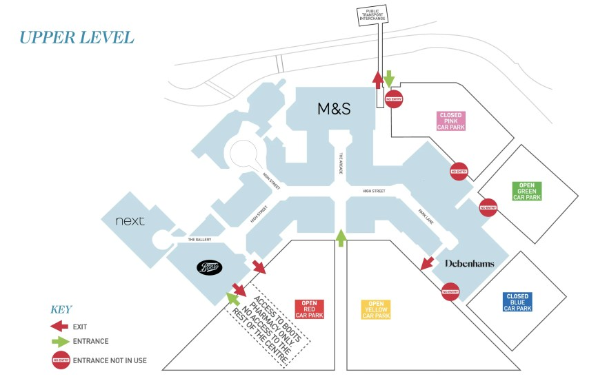 Meadowhall Upper Level Map including Social Distancing changes