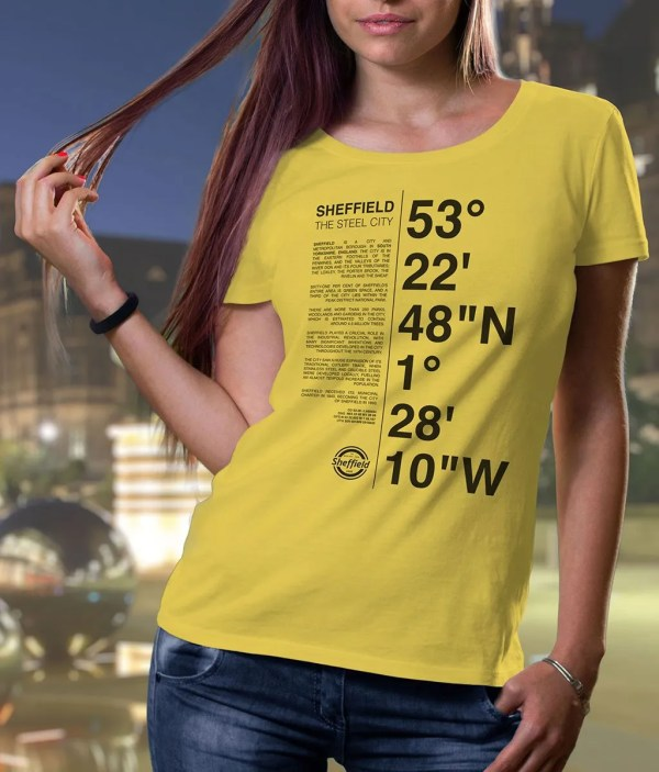 Sheffield Coordinates (Dark Print) Ladies T-Shirt (Golden Yellow)