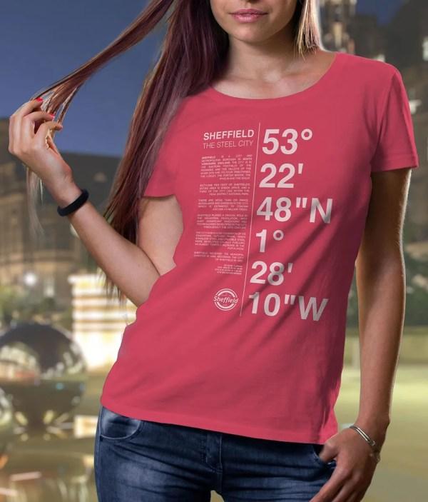 Sheffield Coordinates Ladies T-Shirt (Raspberry)