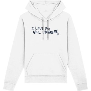 """I Love You Will U Marry Me"" Hoodie (Dark Print, White)"