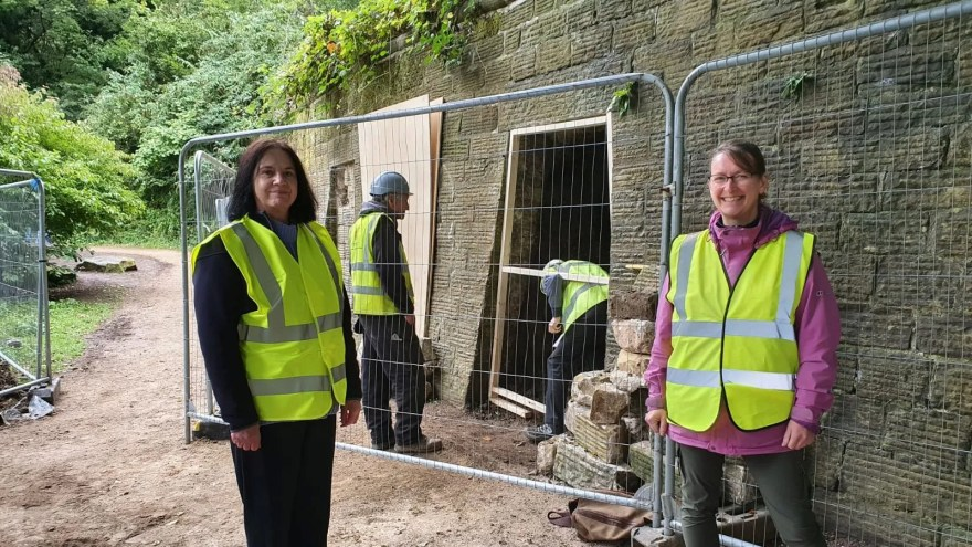 Cllr Mary Lea and Project Officer Claire Watts on site at Sheffield General Cemetery catacombs