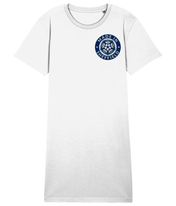 Made in Sheffield Embroidered Motif Organic Dress, White