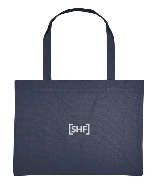 [SHF] Motif Embroidered Shopping Bag, Midnight Blue