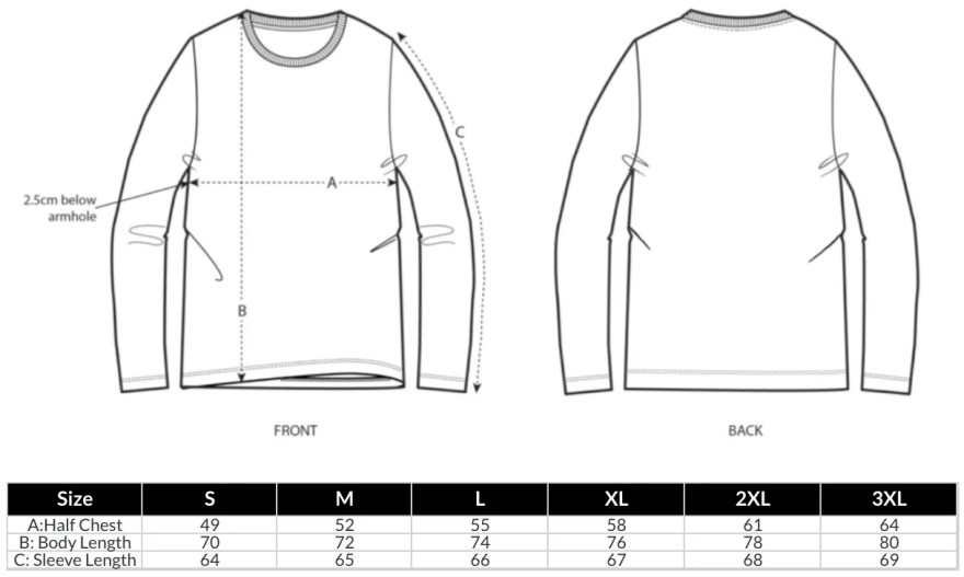 Unisex Long Sleeve T-Shirt Size Guide