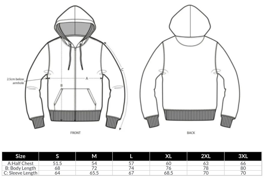 Zip Hoodies Size Guide