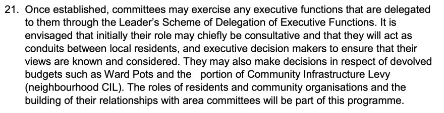 """Section of """"Empowering Communities"""" Executive Report to Full Council"""