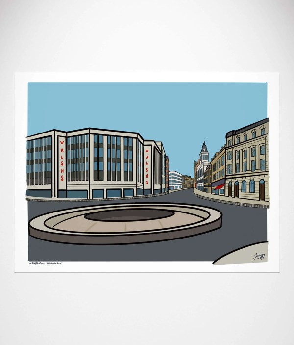 Hole in the Road Sheffield Poster Wall Art Print