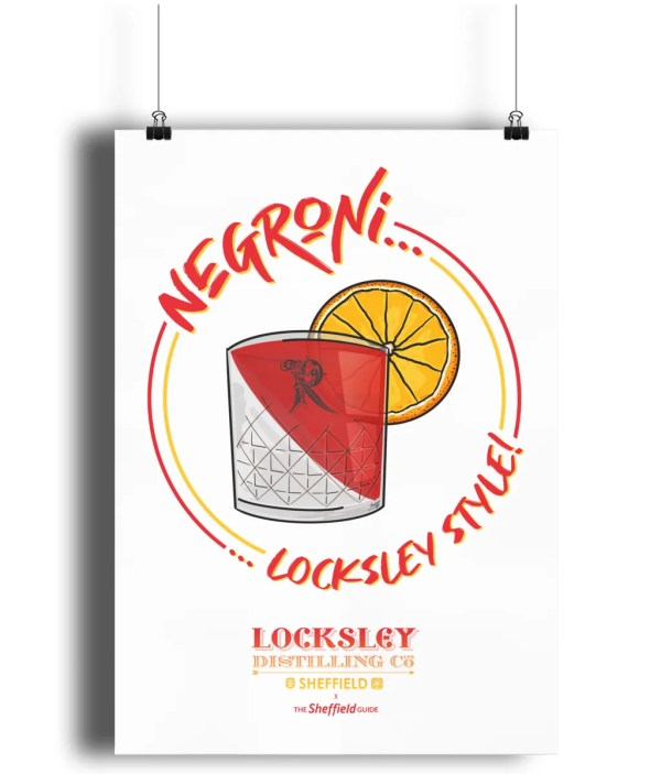Negroni… Locksley Style! Art Print   Locksley Distilling X Sheffield Guide   Exclusive Art By James