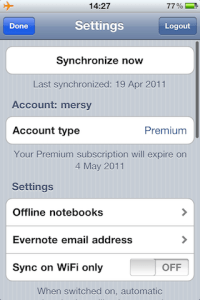 iPad/iPhone Evernote offline settings