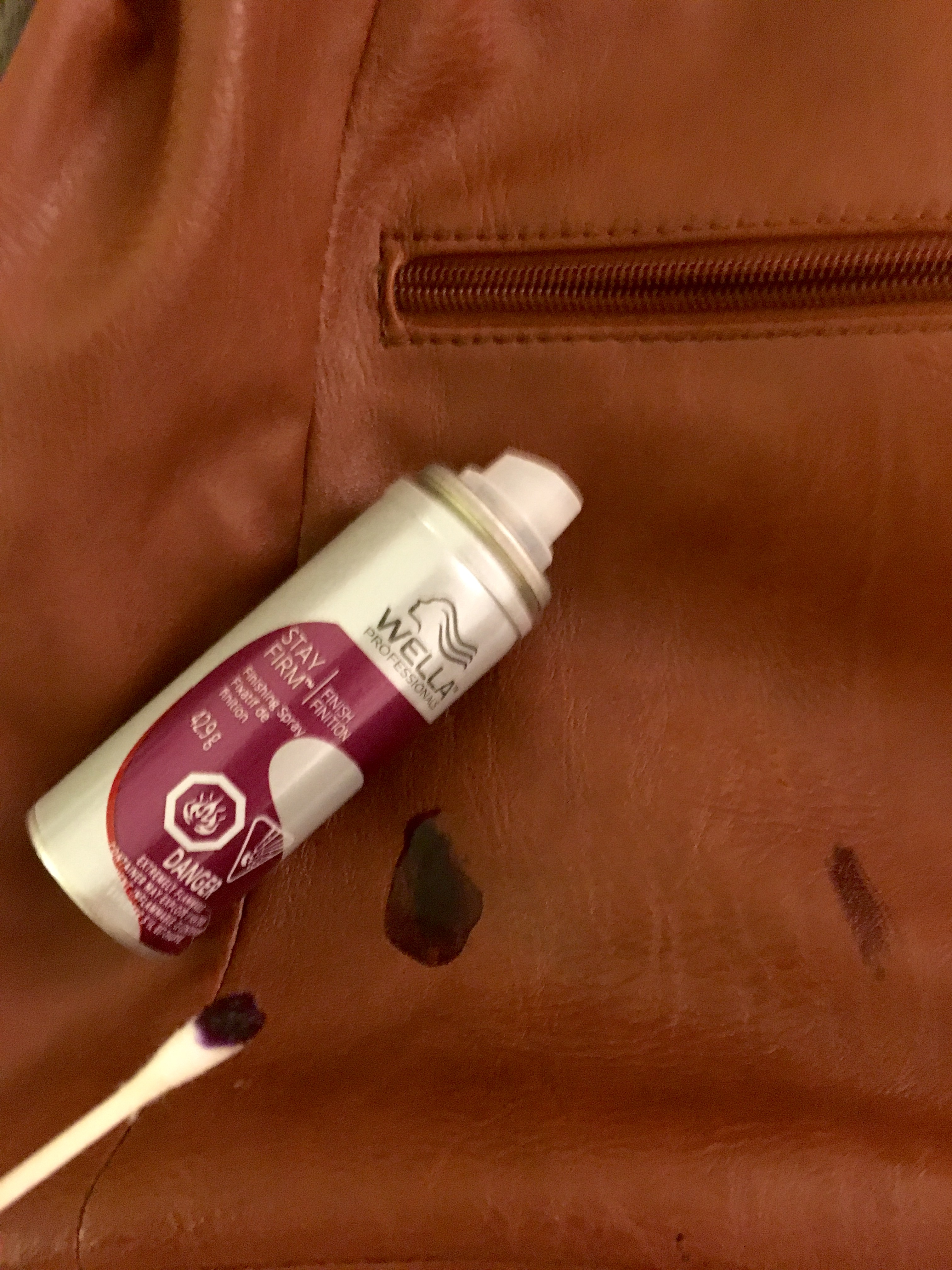 how to remove hair dye stain from leather sofa white genuine get an ink out of a purse then gently rub the in circular motion should gradually disappear
