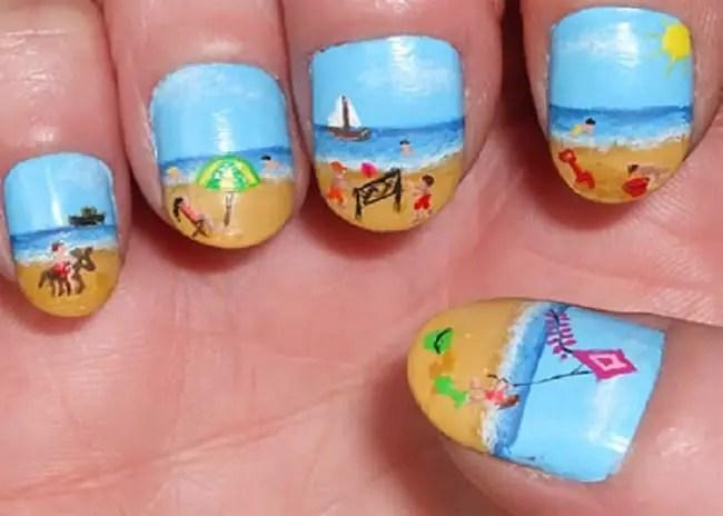 Cute Beach Style Nail Designs For Couple