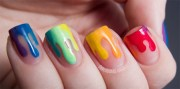stunning rainbow nail art design