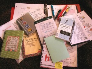 Image of planners scattered on a desk