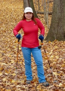 Image of author hiking in the woods in fall 2010