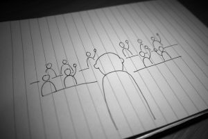 Line drawing of a presenter and audience members raising hands - facilitation move