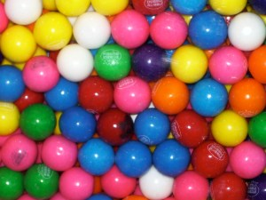 brightly colored gumballs