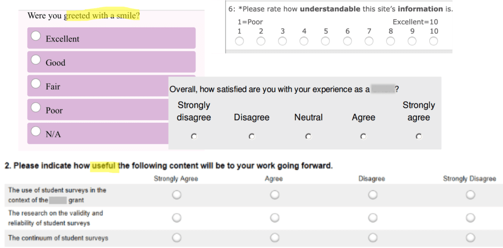 Examples of real survey questions with mismatched question stems and response options