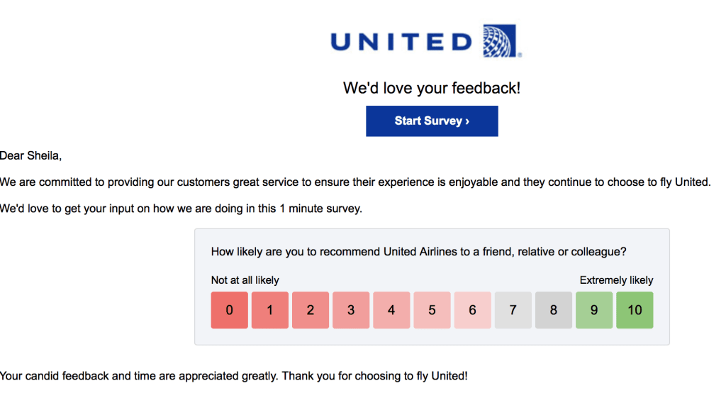 Net Promoter example from United Airlines survey
