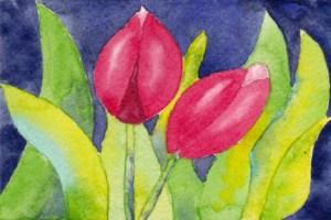 Tulips. 4 x 6 postcard, watercolor on 140 lb. cold press paper. © Sheila Delgado 2013. RAG Memory: International Exhibition and Swap entry #3