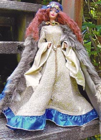 Rescued Barbie in   handmade Medieval Costume