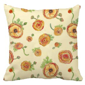 Ranunculus pillows now available at Zazzle.com.