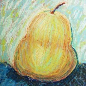 A middle. Pear. 5 x 5 pastel,  © Sheila Delgado 2014