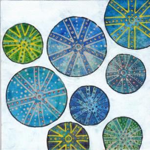 Urchins. Mixed media on 8 x 8 canvas panel. © 2014 Sheila Delgado
