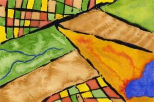 Map 2, watercolor on 140 lb. Arches cold pressed paper. © 2014 Sheila Delgado