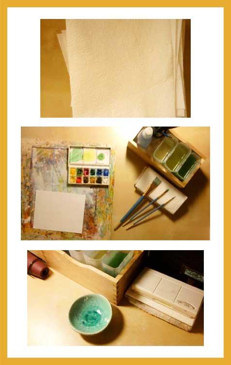 Watercolor work set up