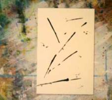 Mark making, black acrylic on  4 x 6 watercolor paper.